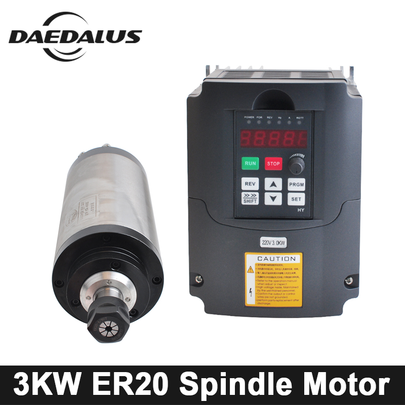 CNC 3KW 100MM Spindle Motor ER20 Collet Chuck 220V Water Cooled Spindle Motor + 220V VFD Inverter For CNC Milling Machine Tools free shipping cnc spindle 2 2kw 220v 110v air cooled spindle motor machine 80mm er20 collet router tools for milling