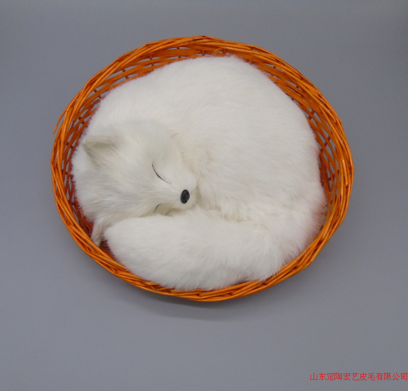 creative simulation white fox toy polyethylene & furs big sleeping fox model in a basket gift about 27x12x27cm 200 big creative simulation fox model polyethylene