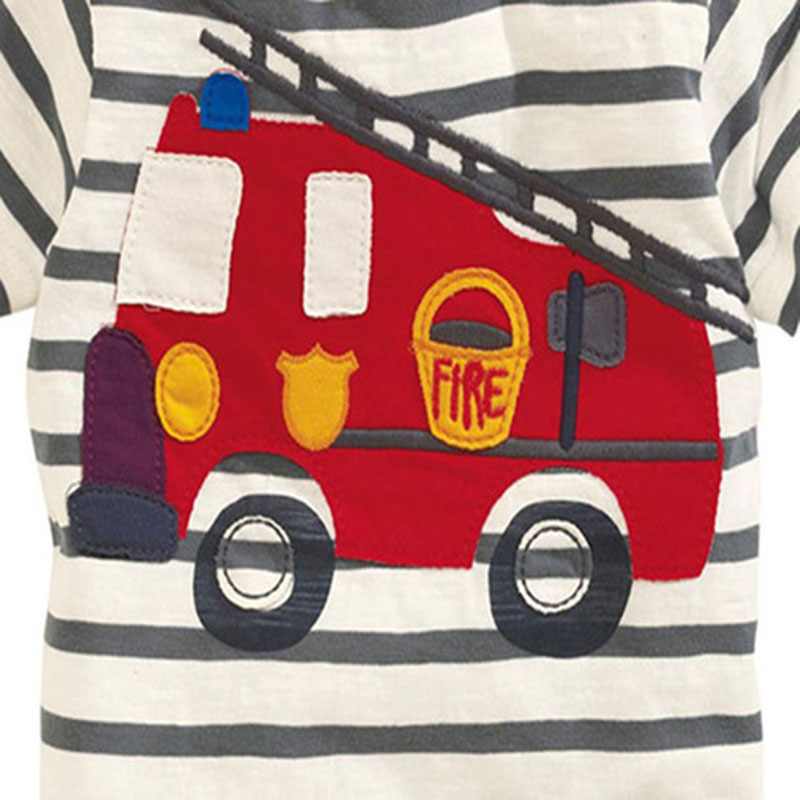 100% Little Maven 2017 new summer baby boys clothes short sleeve O-neck t shirt pure Cotton Fire truck printing brand tee tops