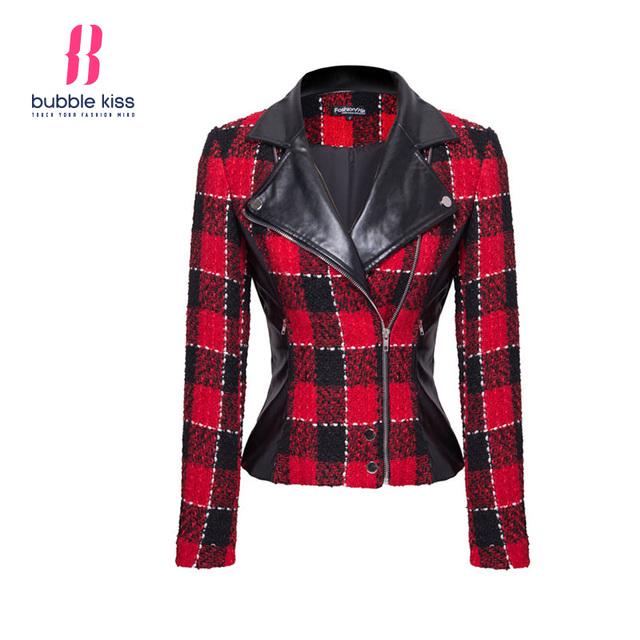 Mulheres Casacos Xadrez básico Turn Down Collar Zipper Faux de Retalhos de Couro PU Casaco Jaqueta Curta Bubblekiss