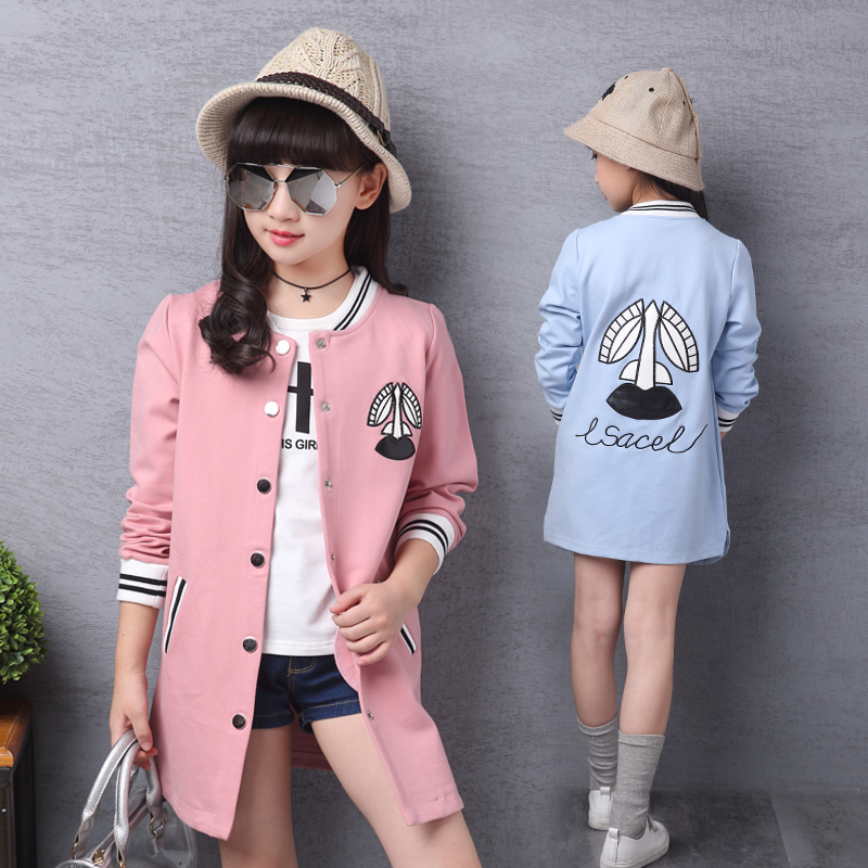 ФОТО Fashion Children Back To School Outfit Clothes For Girls Age 13 to 4 Autumn Spring Coconut Tree Embroidery Jacket For Teenagers