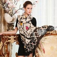 Luxus Marke Schal Unisex 2019 Weiblich Männlich Hohe Qualität Wolle Kaschmir Schal Pashmina Quasten Frauen Männer Wrap Große Größe 245*110cm