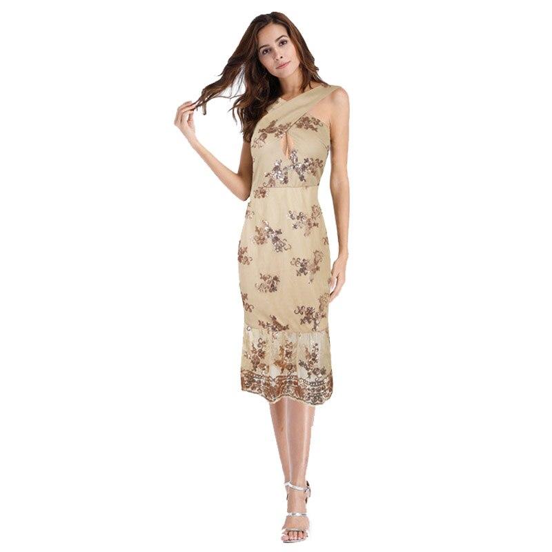 Women's Elegant Sleeveless Summer Gold Sequin Patchwork Cross Halter Neck Wrap Fashion Mermaid Evening Casual Party Dress 402156