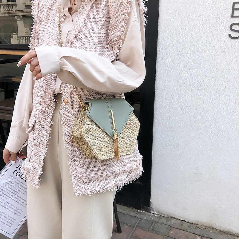 New Fashion Hexagon Straw+Pu Leather Handbags Women Summer Rattan City Jogging Bag Handmade Woven Beach feminina Bag