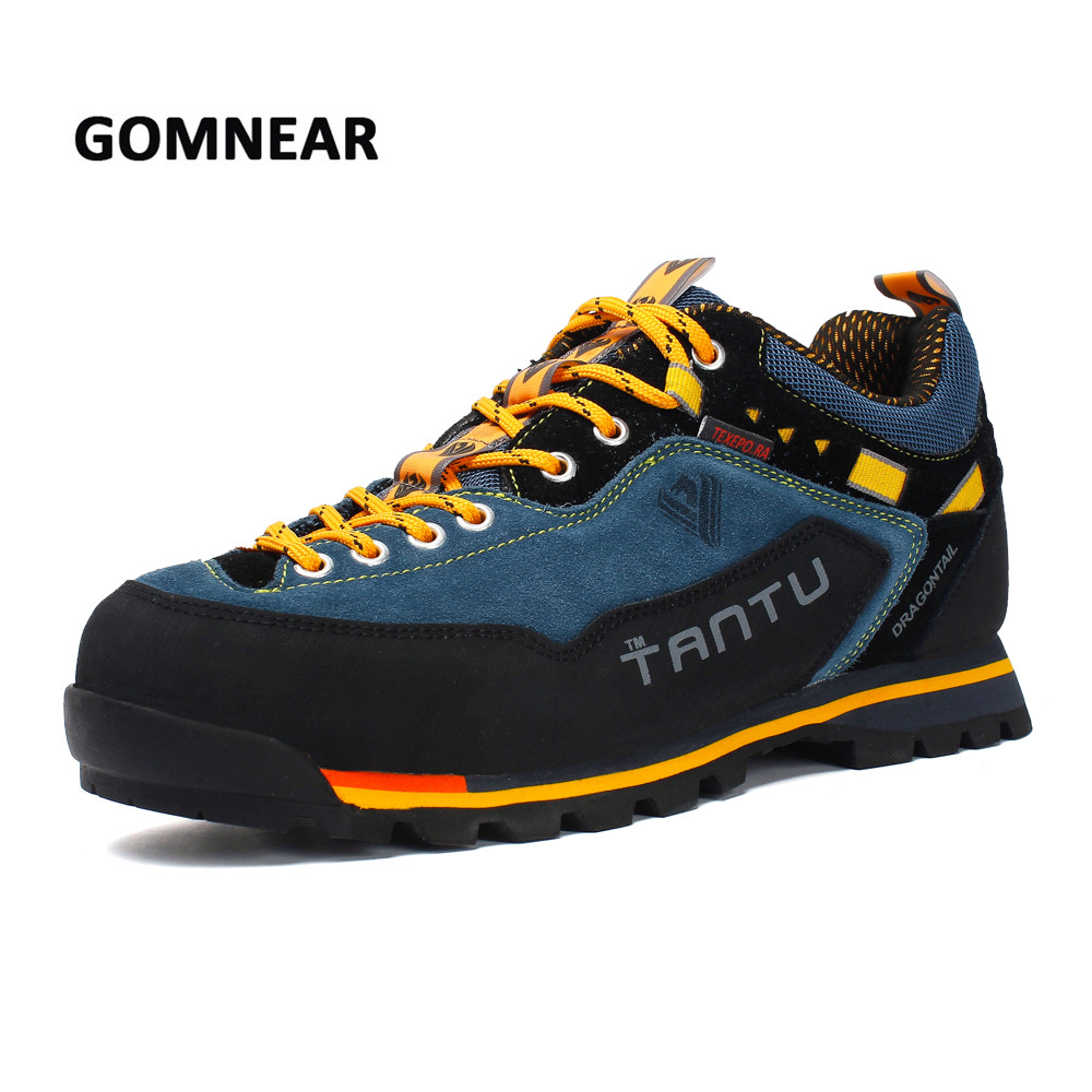 GOMNEAR Men Waterproof Breathable Hiking Shoes Outdoor Trekking Sports Shoes Mountain Climbing Sneakers Big Size Mans Footwears tfo women climbing breathable trekking hiking shoes woman outdoor athletic waterproof mountain sports sneakers 844543