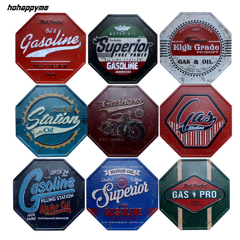GAS OIL signs...refrigerator magnets....Set of 6