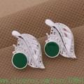 925 brincos de prata, 925 jóias de prata, Folha incrustada pedra verde / bmgakdna eleancla AE406