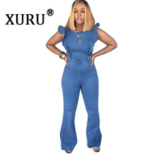 XURU Summer New Womens Denim Jumpsuit Fashion Fungus Sleeve Long Trumpet Pink Yellow Green Blue Orange