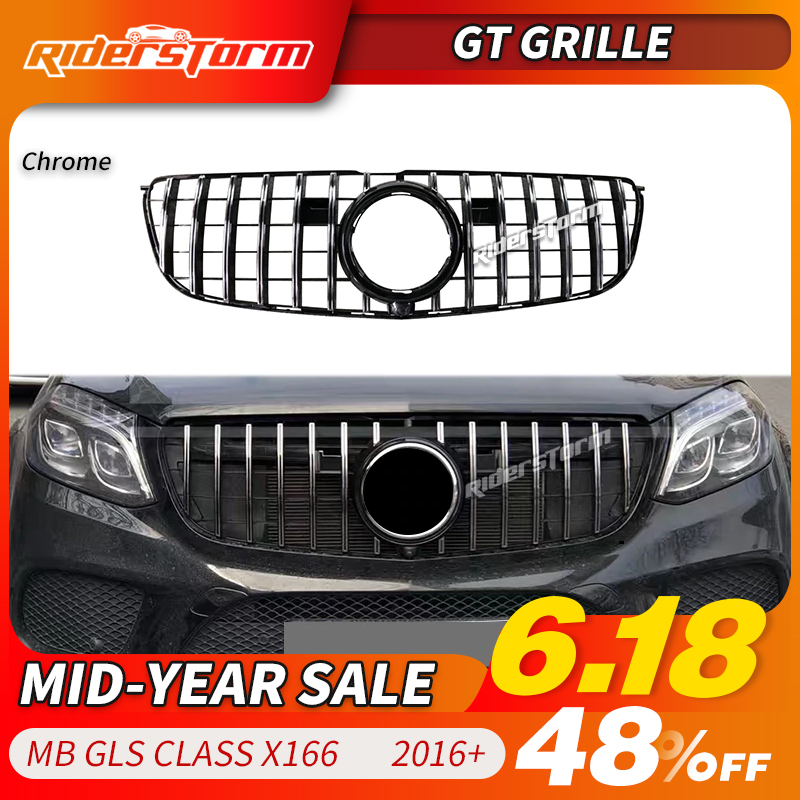 Para GLS GLS classe X166 GT Grille Grill para Mercedes Benz classe GLS300 GLS350 grade dianteira de 2016-2018 grade