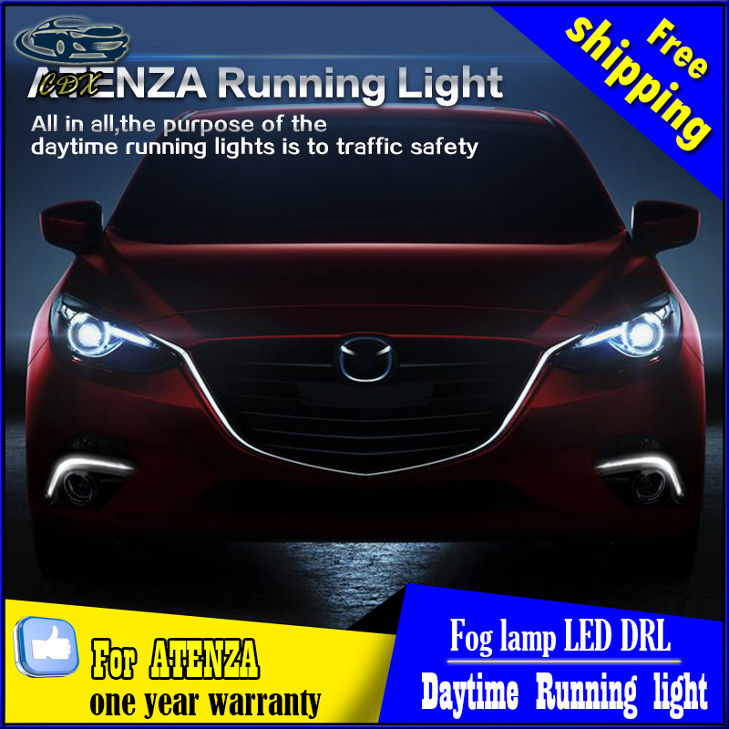 LED Guide Daytime Running Lights DRL With Fog Lamp Cover Case for Mazda 6 ATENZA DRL 2013~2016 ON 1:1 replacement, free shipping high quality led daytime running light fog lamp housing cover drl for mazda 2 demio 2014 2015 2016 1 1 replacement free shipping