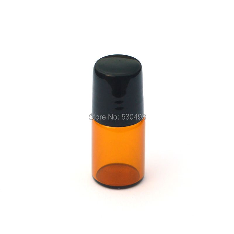 5pcs/lot 2ML Amber Glass Roll on Bottle with Stainless Steel Roller Small Essential Oil Roller-on Refillable Sample Bottle