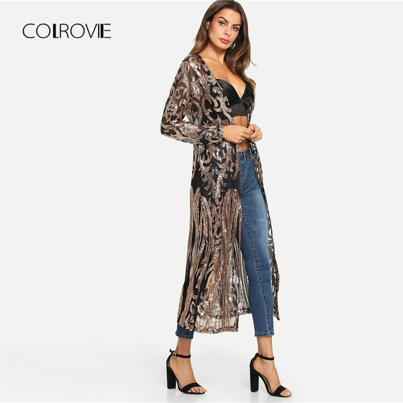 924fb80de2151 ... COLROVIE Black Sheer Sequin Open Front Kimono Sexy Cardigan Vintage  Ladies Blouse Autumn Night Out Long