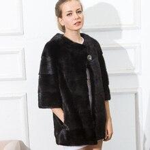CNEGOVIK women mink fur coat short mink coat 70 cm real fur coats