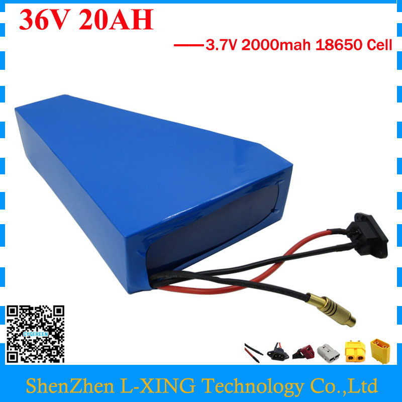 1000W 36V lithium battery 20AH Electric bike battery 36 V 20AH Triangle battery use 30A BMS With free bag Free customs duty free customs fee 1000w 36v 17 5ah battery pack 36 v lithium ion battery 18ah use samsung 3500mah cell 30a bms with 2a charger
