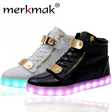 Hot Sale Men 8 Colors High Top LED Shoes for Adults White Black Glowing Light Up Flat Shoes Luminous Recharging Size 35-46