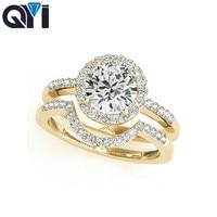 QYI diamond jewerly 925 Sterling Silver Women Engagement Ring Sets Halo Round Cut Wedding Anniversary Princess Ring Set