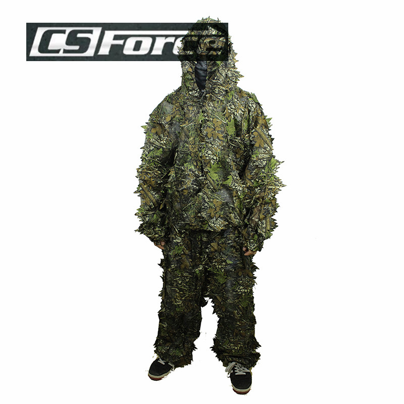 ФОТО Airsoft Tactical Hunting 3D Leaf Camo Uniform Military Paintball Bionic Disguise Sniper Archery Ghillie Suit Disguise Uniform