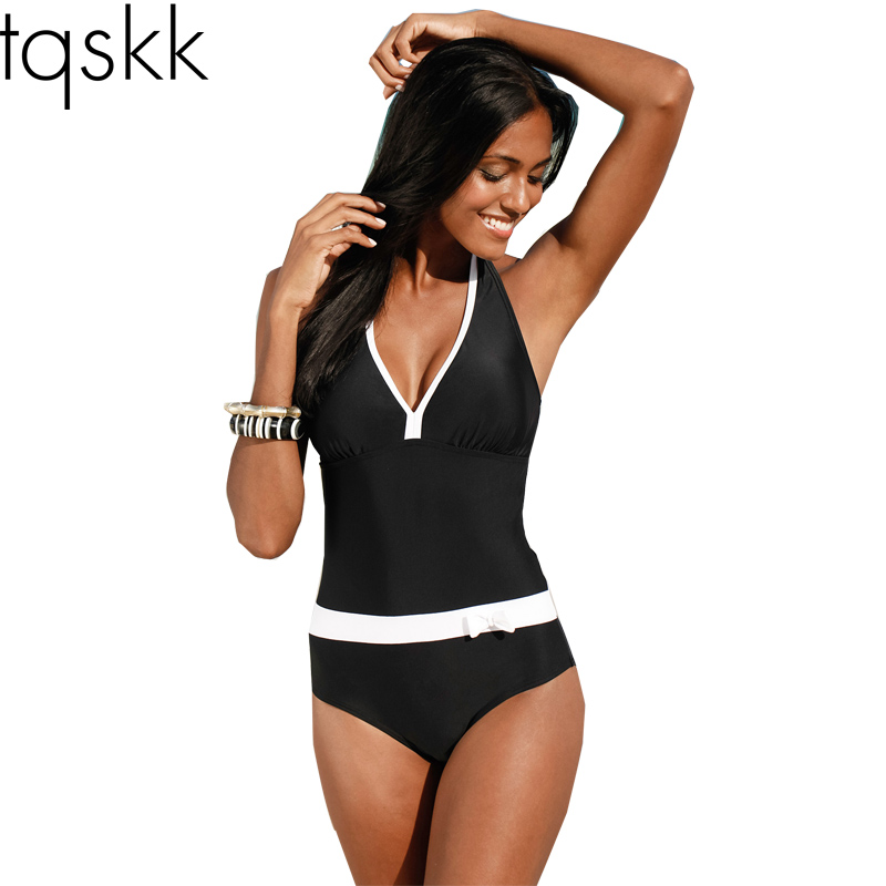 518acce5452c7 TQSKK 2019 New One Piece Swimsuit Women Vintage Bathing Suits Halter Top Plus  Size Swimwear Monokini Swimsuit Summer Beach Wear