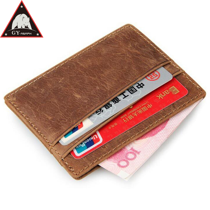 ANAPH Anti Rfid Genuine Leather Magic Wallet Mini Slim Wallets Card & Id Holders Man Women Business Credit Card Case In Brown