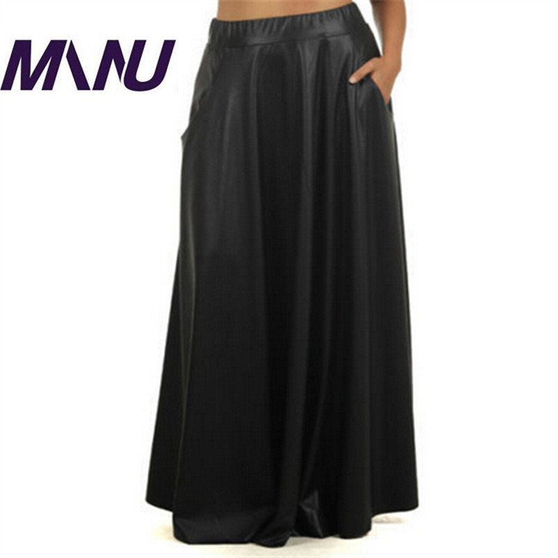 Women Long Skirts With Pocket PU Bodycon Black Sweep Maxi ...