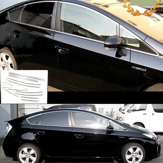 JY 14pcs SUS304 Stainless Steel Full Window Trim Car Styling Cover Accessories For Toyota Prius 30 Zvw 30 2010-2015