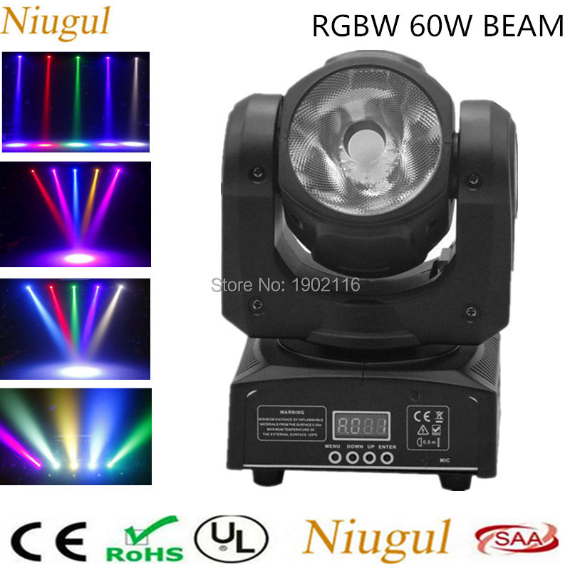 Niugul Super bright 60W led RGBW 4IN1 beam moving head light LED DJ Spot Light DMX12 control LED Beam lights Wash beam effect