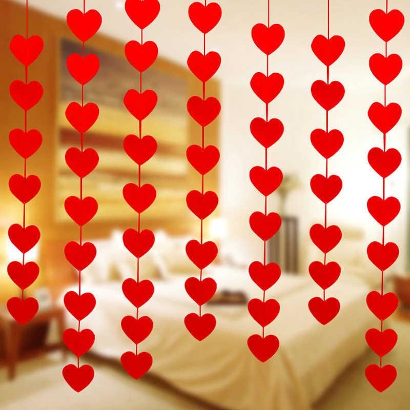 למעלה מכירת DIY 16 לבבות מחרוזת וילון שאינו ארוג בד קו דלת Cortinas חתונה מסיבת חלון סלון אלאנס דקור