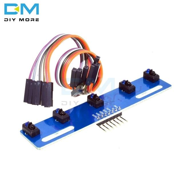 5 ערוץ אינפרא אדום רעיוני חיישן TCRT5000 ערכת 5CH CH כביש IR הפוטואלקטרי מתג מחסום קו מסלול מודול 5 דרך TCRT5000L