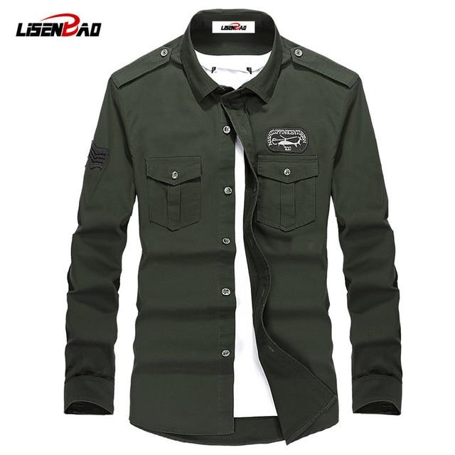 Плюс Размер M-4XL Высокое качество Лето мужская военная форма стиль мужчины Повседневная рубашка с длинными рукавами досуг рубашка с длинными рукавами