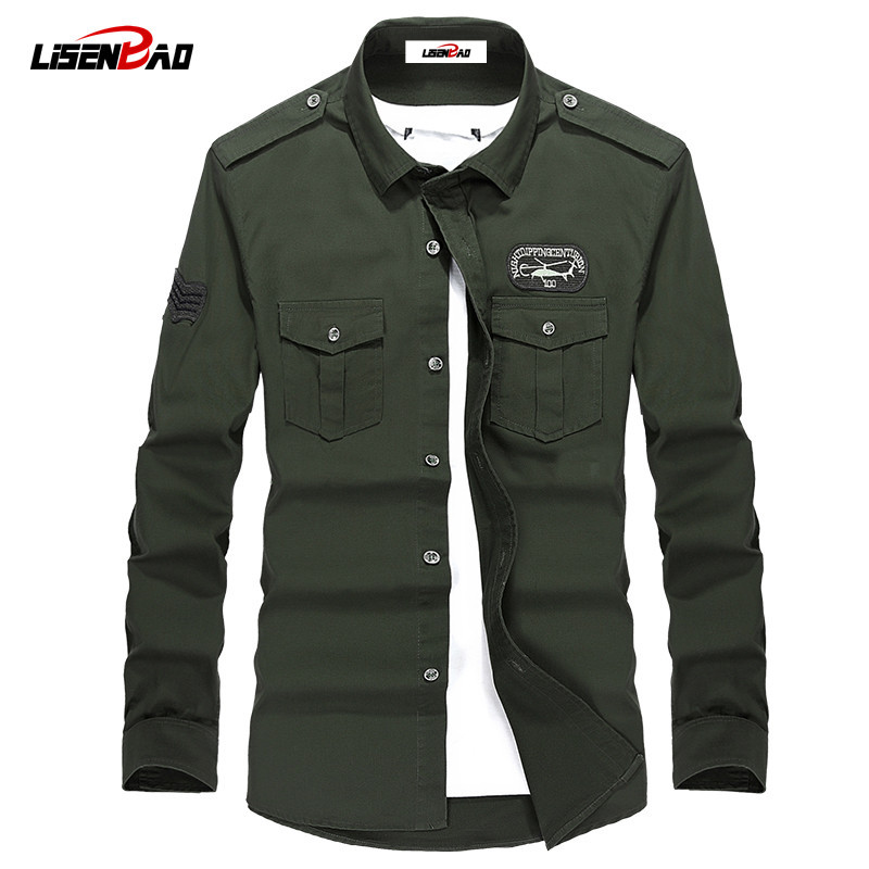 Plus Size M-4XL High quality Summer men's military uniform style men Casual long sleeved shirt leisure long sleeved shirt