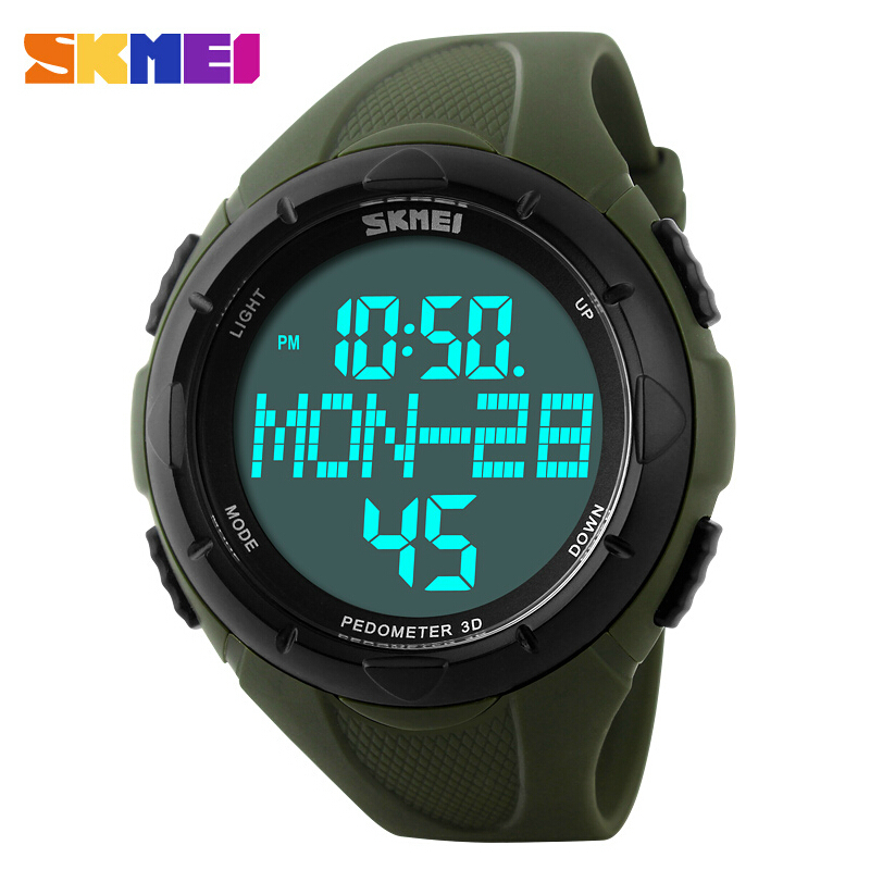 SKMEI Luxury Brand Men Sports Watches Digital LED Quartz Wristwatches Pedometer Calories Military Watch relogio masculino image