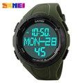 SKMEI Marca de Luxo Homens Relógios Desportivos Digital LED de Quartzo relógios de Pulso de Calorias Pedômetro 3D Relógio Militar relogio masculino