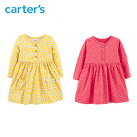 Carters autumn baby girl dress long sleeve floral ball gown dresses casual cotton baby clothes 118I486/118I672