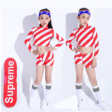 Songyuexia Jazz Dress Childrens Hip-hop Girls Dance Long Sleeve Show-belly Performing Performance