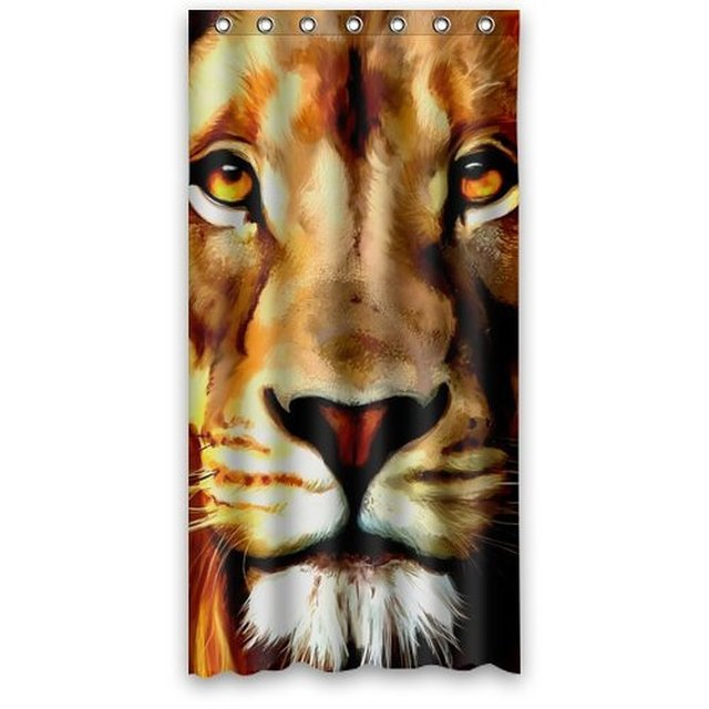 36 X 72 Stylish Living Elegant Lion Face Art Animal Bathroom Shower Curtain Liner For Home With Hook