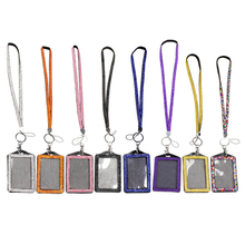 Buy rhinestone badge holder and get free shipping on aliexpress resin rhinestone crystal card id badge holder with lanyard rope bling vertical id business card case colourmoves Image collections