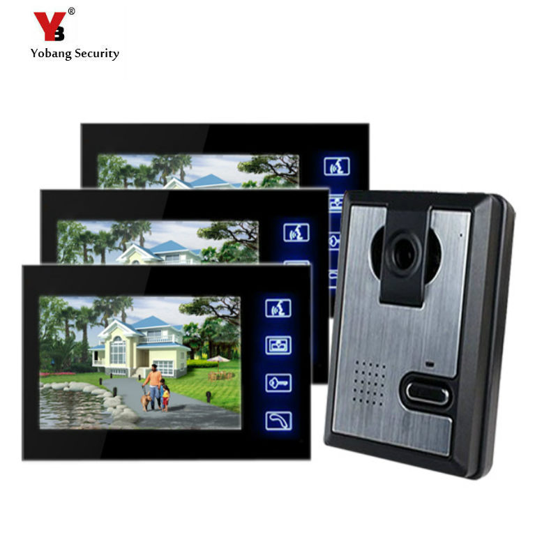 Yobang Security Freeship7 Inch Door Monitor Video Intercom Home Door Phone With Rain Cover Camera Door Release Unlock Doorbell yobang security freeship 7 video intercom for villa 2 monitor doorbell camera with 5pcs rfid cards hd doorbell camera in stock