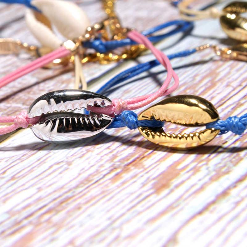 ירח ילדה Puka מעטפת קסם צמיד אופנה זול חדש קיץ בעבודת יד מקרמה כותנה ידידות בנות צמיד זרוק משלוח