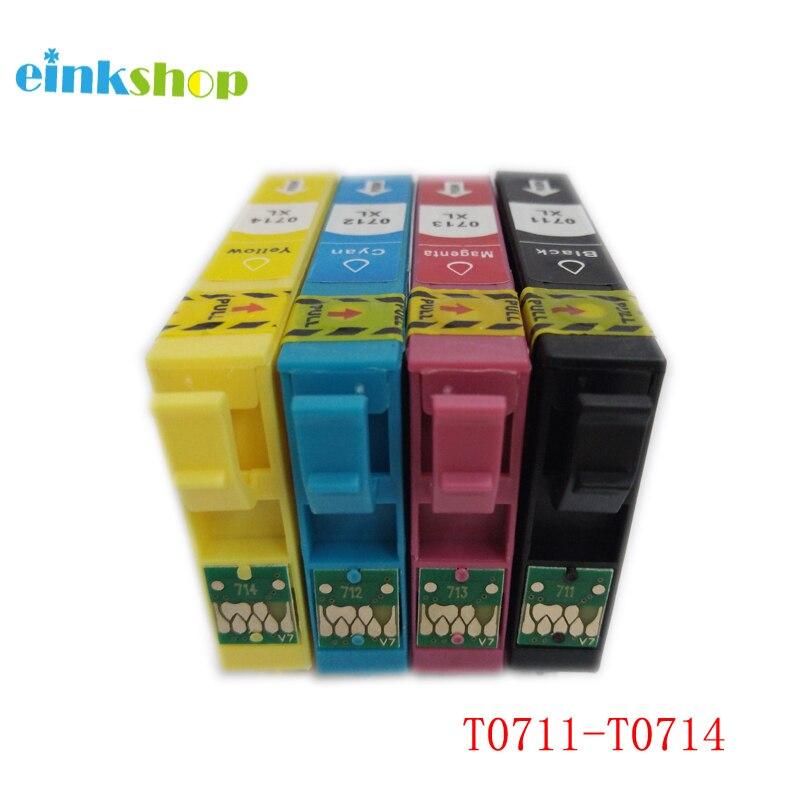 T0711 T0712 T0713 T0714 Ink Cartridge For Epson Stylus D120 D78 D92 DX400 BX610 FW DX4050 BX300 for epson t0711 in Ink Cartridges from Computer Office