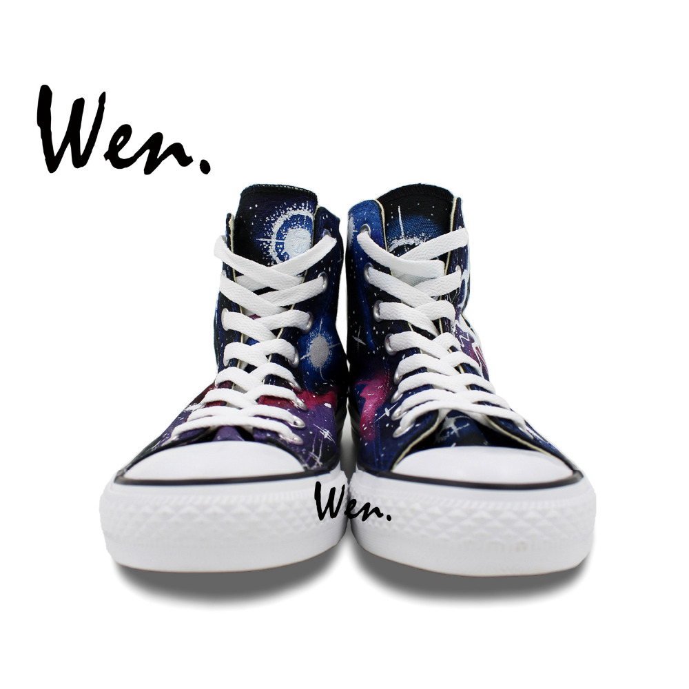 1438bdf1fd290 US $74.0 |Wen Hand Painted Canvas Shoes Design Custom Weeping Angel Tardis  Doctor Who High Top Men Women's Sneakers for Gifts-in Skateboarding from ...