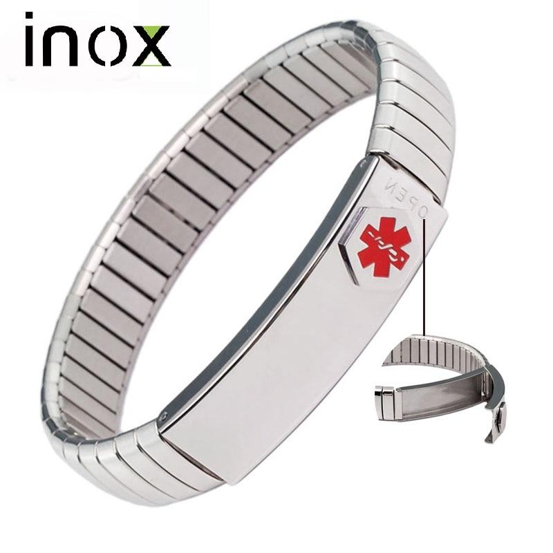 Inox Smykker ID Bangle Elastisk Rustfrit Stål Medicinsk Alert Armbånd til Mænd Kvinder Personlig Tilpasset Medicinsk Kort
