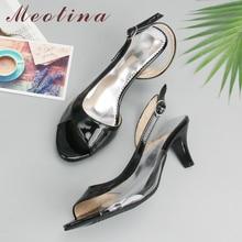 Meotina 靴女性サンダル夏女性用サンダル透明ネオン低かかとデザイナーの靴ハイヒール黄色ビッグサイズ 11 12 46