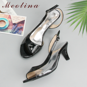 Image 1 - Meotina Shoes Women Sandals Summer Ladies Sandals Transparent Neon Low Heels Designer shoes High Heels Yellow Big size 11 12 46