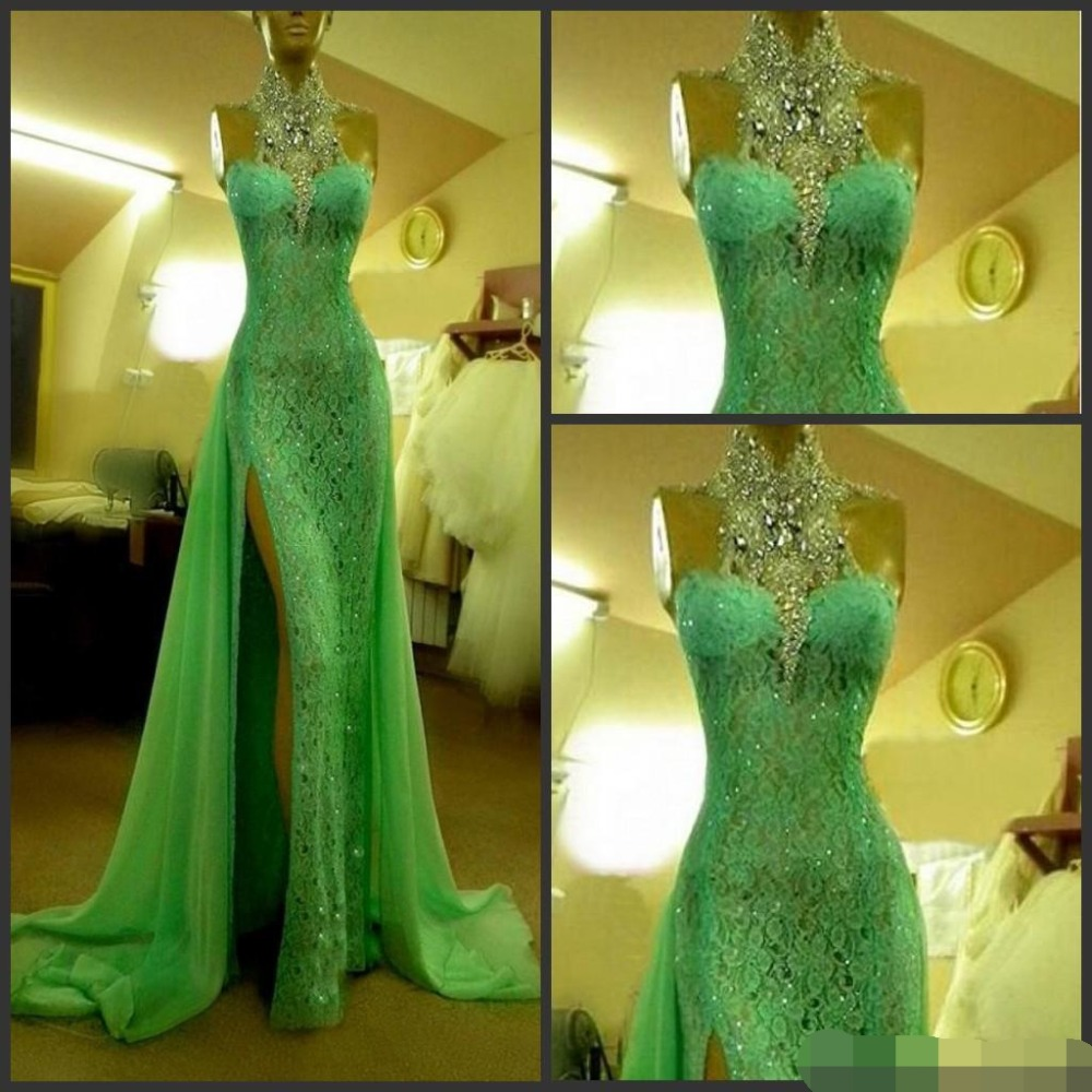 2019 Emerald Green Evening Dresses High Collar With Crystal Diamond Arabic Evening Dresses Lace Side Slit Dubai Evening Dress