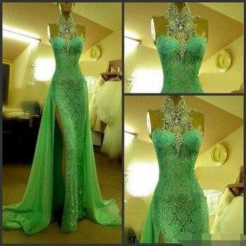 2019 Emerald Green Evening Dresses High Collar with Crystal Diamond Arabic dresses Lace Side Slit Dubai Dress