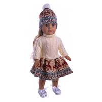 1 Set Color Brilliancy White Dress Include Skirt Hat Fit 18 Inch American Girl Doll Our