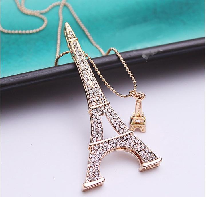 Brand Fashion Paris Eiffel Tower Necklace Crystal Rhinestone