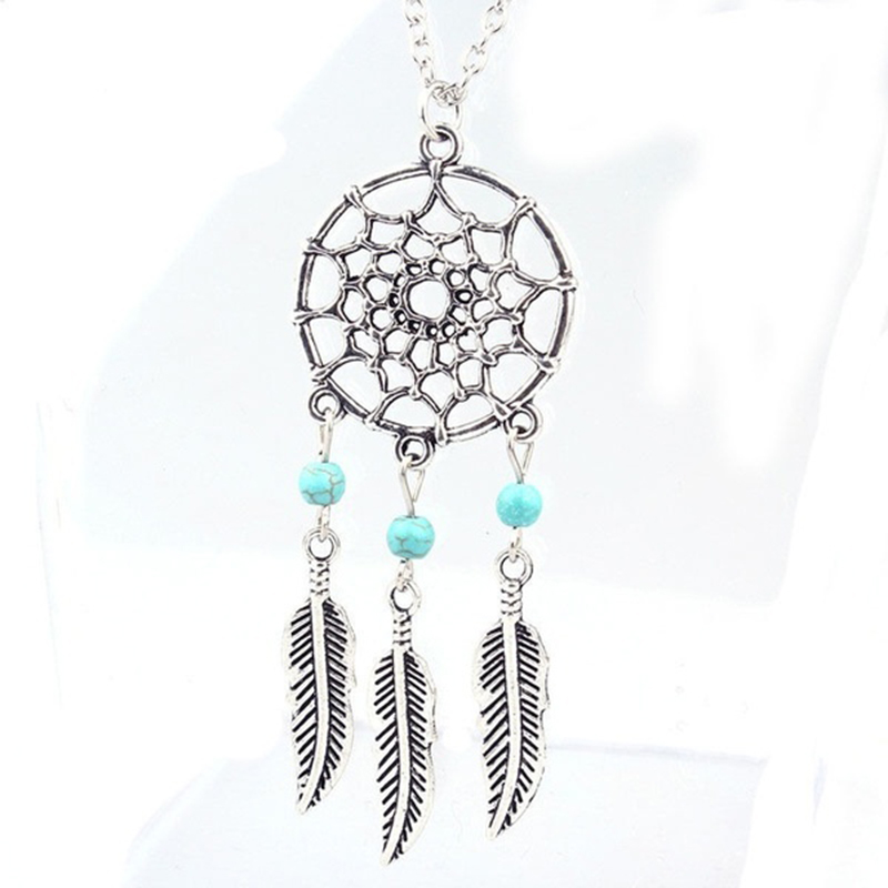 Retro Women Lady Dream Catcher Pendant Long Chain Necklace Sweater Jewelry Gift (Color: silver)