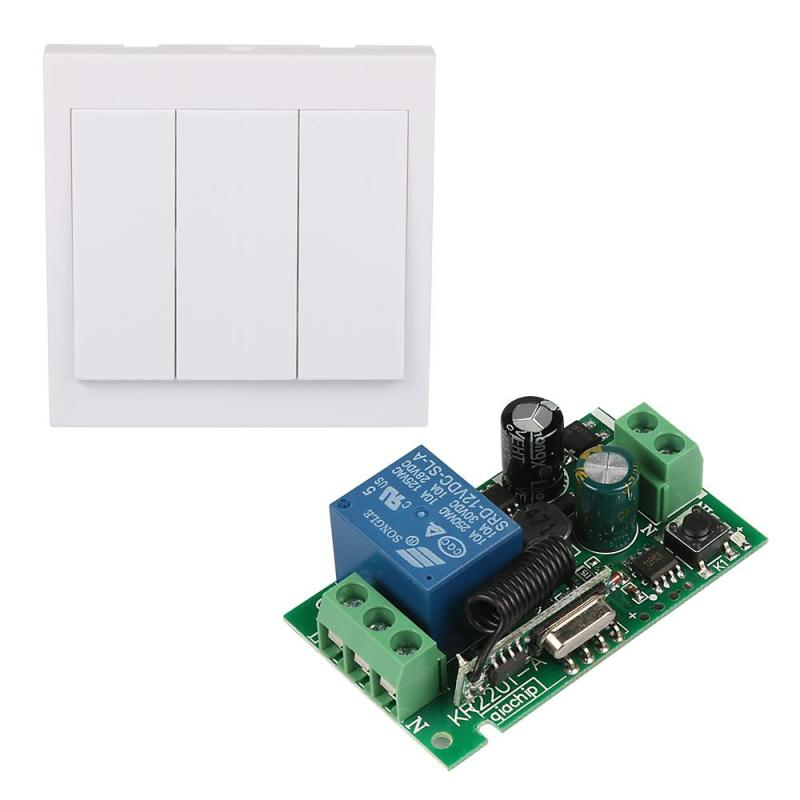 433MHz RF TX Remote Control learning 220V Relay Receiver Wall Panel Remote Control Single Channel 433MHz code DS15