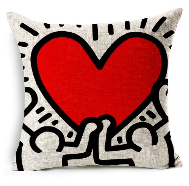 Man Under Heart Keith Haring Art Hand Painted Pillows Emoji Euro Home Decor  Pillow Environment